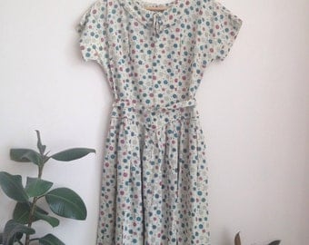 Atomic 1950s Retro Print Wagon Wheel Dress Sz UK 10