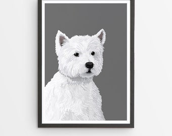 West Highland Terrier Illustrated Breed Print  / Various Colours /  Dog Lover's Gift / Poster