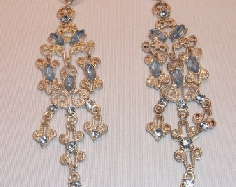 Vintage Chandelier Earrings with Light Blue Stones