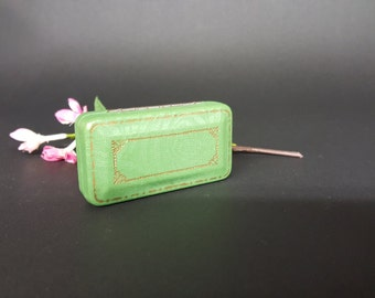 Vintage Renaud-Paris American Depot Boston Green Perfume Velvet Lined Case with One Third Full of Gardenia Perfume In Kimble Glass Vial