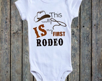 Cowboy Theme Baby Boy Onesie®/ Country Theme Onesie®/Western theme onesie®/ Baby Boy Outfit/ Baby Boy onesie®/ This Really Is My First Rodeo