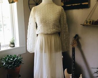 Vintage Chiffon Bowed Dress