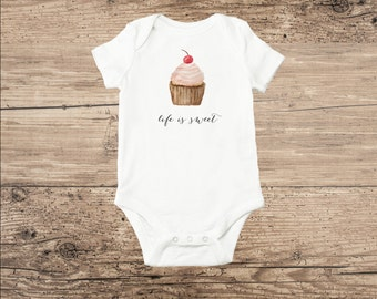 Cupcake Onesie One Piece Baby Bodysuit Pink Cupcake with Cherry, Life is Sweet
