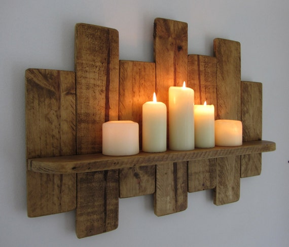 65cm reclaimed pallet wood floating shelf led candle holder. Black Bedroom Furniture Sets. Home Design Ideas