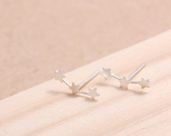 Sterling Silver Tiny Stars Curved Line Stud Earrings