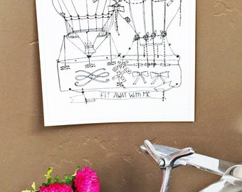 Fly Away With Me -Hand Drawn, Pen and Ink, Art Print, illustration, Wall art, Kids Room Art, Wedding