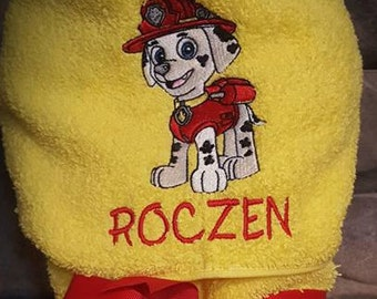 Hooded towels for kids,Marshall hooded towel,paw patrol hooded towel,paw patrol birthday,hooded towels,bath towels,beach towels,kids towels