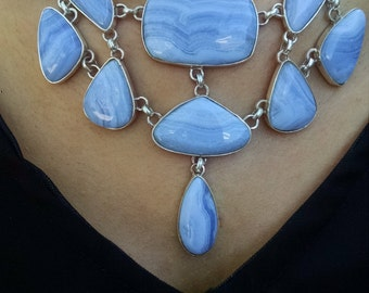 Silver necklace with agate Blue Lacy