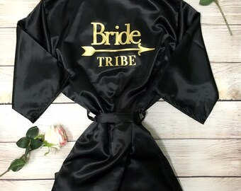 BRIDE  TRIBE Robe bridal shower, bride to be, bachelorette, bridesmaid, bridal party size S-L Variety of colors