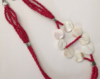 Radiant red N shell necklace