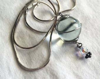 """18"""" Ramune Marble, Sterling Silver, and Swarovski Crystal Necklace"""