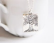 Silver tree pendant, Tree of life necklace, Family tree gift, Druid jewelry, Scottish gift, Charm necklace, Artisan necklace, Nature jewelry