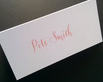 Hand written place cards - pink ink on white card stock - modern script