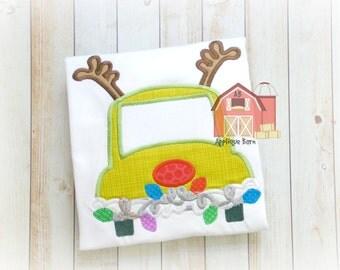 Reindeer Car applique design, Christmas applique design