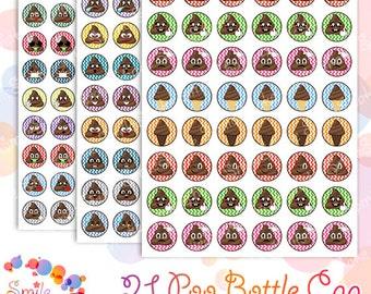 Poop Emoji Bottle Cap Images Digital Poop Clipart Bottlecap Images Poop Printable Stickers 1 inch circle Bottle Cap Collage Pendants Magnets