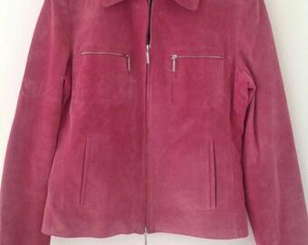 Vintage Jacket, pink suede jacket, ladies leather coat, suede top, summer jacket, festival,  zip jacket, UK 6-8