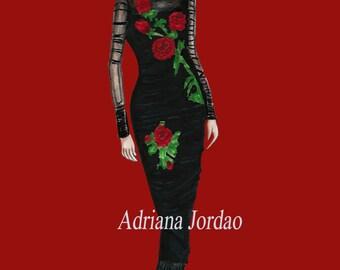 Fashion Print / Girly Wall Art / Dressing Room Art / Home Decor /  Gift For Her / Fashion Marker Art / Dolce Gabanna