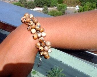 Boho beaded bracelet, Beaded cuff, Jasper beads bracelet, Mothers day gift