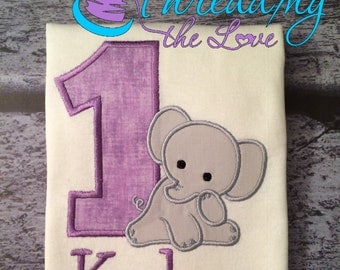 First Birthday Elephant Shirt, Adorable Elephant Shirt or bodysuit