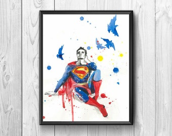 Superman in flight Watercolor surrounded by birds, original poster from the wall for the children's room