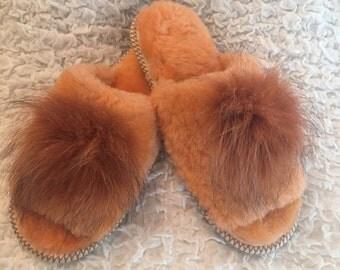 Slippers sheep wool,Women's slipper, Fur slippers,Open toe,Sheepskin shoes,Slipper wool,Cozy Warm,Lady's Girls shoes,Orange slippers