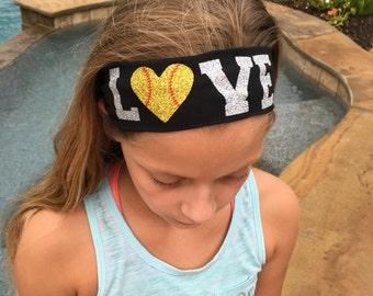 LOVE Glitter Cotton Stetch Headband  - Baseball, Softball, Volleyball, Basketball