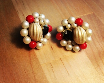 Antique Red, White, and Blue Clip On Earrings, with mini pearls