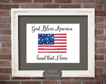4th of July decor - Patriotic Art Print - Printable Wall Art - God Bless America