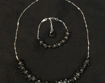 Smokey Quartz and Labradorite on .925 Sterling Silver Necklace
