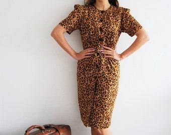 Vintage 50s Leopard Print Wiggle Dress - UK 10