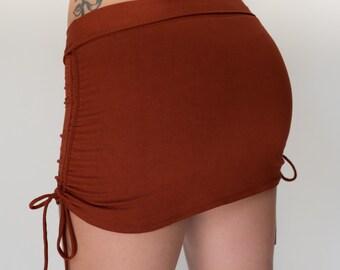 Cinch Skirt in Rust/Yoga Skirt/Mini Skirt/Festival Skirt/Boho Hippy Skirt/Booty Skirt/Festival Skirt/Club Skirt/Yoga Wear/Yoga/Yoga/Yoga