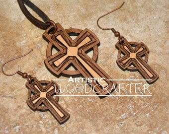 Wooden Cross Necklace and Earring set (Walnut/Bamboo)
