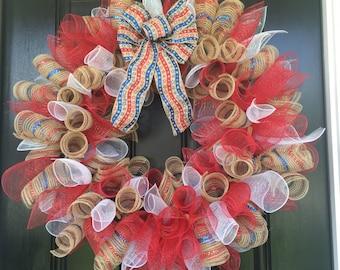 Patriotic Deco Mesh Door Wreath