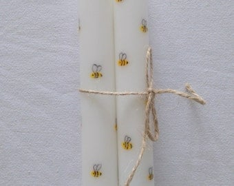 Hand-painted taper candles with bees set of two