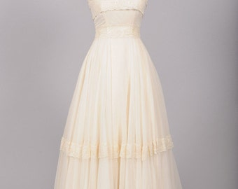 1970 Vanilla Chiffon Vintage Wedding Gown