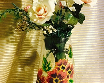 Handpainted glass Vase