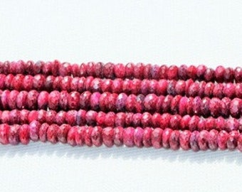 Very Good  quality  8 inch Long strand Natural Ruby Rondelles BEADS Size 6 -- 7.7 mm approx