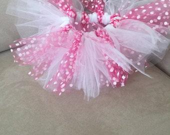 Pink polka-dot infant tutu 0-3 months