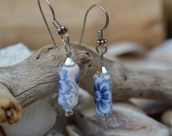 Earrings with hand painted ceramic Venetian beads and Swarovski. Earwires in Sterling Silver 925