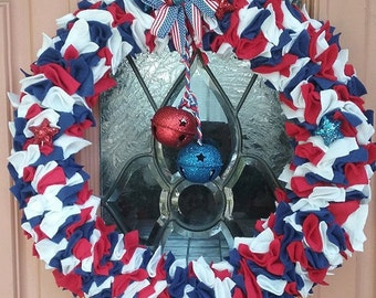 Patriotic 4th of July Wreath red white blue USA