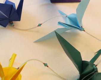 Beaded Origami Chakra Crane Chain//Paper Crane//Meditation Room//Origami Garland//Hostess Gift//Hanging Backdrop//Healing