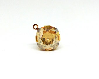 13mm Diamond Shape Pendant, Faceted Crystal, Swarovski Drop, Crystal Golden Shadow, Gold Plated Brass, Earring Findings, Components, YF3197