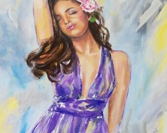 Original figurative oil painting,figurative woman,figurative art,purple dress,woman in purple,abstract backround,figurative painting