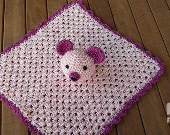 Sleepy  Bear Crochet Baby Security blanket, Crochet Snuggle Quilt,  Baby Huggy,Baby blanket,Crochet blanket