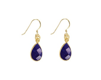 Charlene K Faceted Sapphire Dangle Drop Earrings with 14k Gold Vermeil Setting