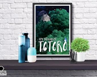 My Neighbor Totoro DIGITAL PRINT, Studio Ghibli, Movie, Abstract, Simplified, Totoro, Illustrated, Hayao Miyazaki, Poster, Gift