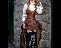 Steampunk Brown Corset w/ BROWN Bustle Skirt Victorian Cosplay Costume Halloween Dress Goth