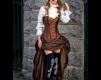 Steampunk Brown Corset w/ BROWN Bustle Skirt Victorian Cosplay Costume Dress Goth
