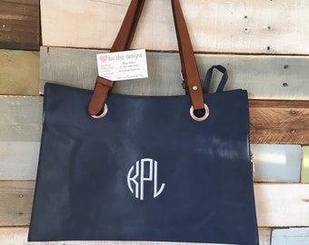 Monogrammed faux leather 3-layer purse