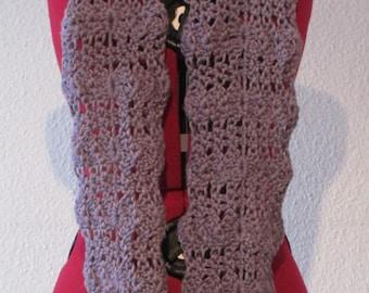 Lilac / purple, crochet infinity / loop scarf